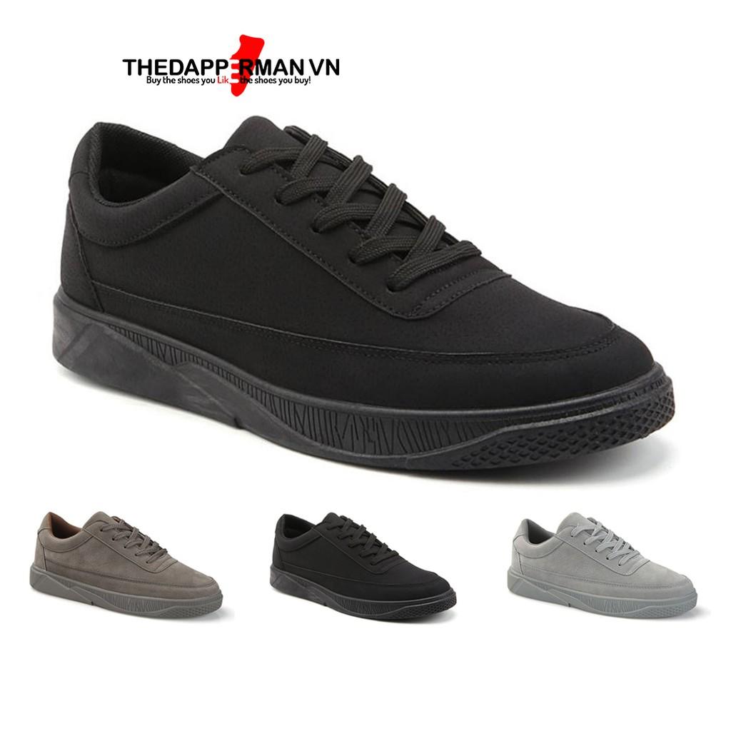 Giày nam thể thao sneaker THEDAPPERMAN TDM1101 chất liệu da lộn, đế cao su nhiệt dẻo, siêu êm phù hợp chạy bộ, màu đen