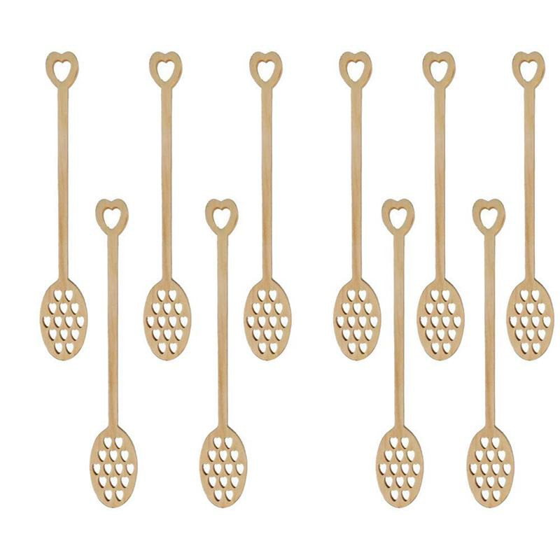 10 Pack Wooden Hollow Love Heart Coffee Stirring Spoon,(Wood Heart) เครื่องผสมอาหาร