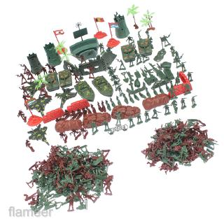 290pcs Action Figures 4cm Army Men Soldier Playset with Tanks Planes Flags