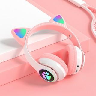 Tai Nghe Mèo Kết Nối Bluetooth Chụp Tai HP000028 Headphone Tai Mèo Dễ Thương Có Mic Âm Bass Mạnh Mẽ Bảo Hành Điện Tử thumbnail