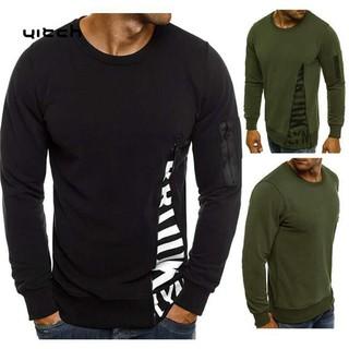 Yitch Men Long Sleeve Letter Print Zipper Decor T-shirt