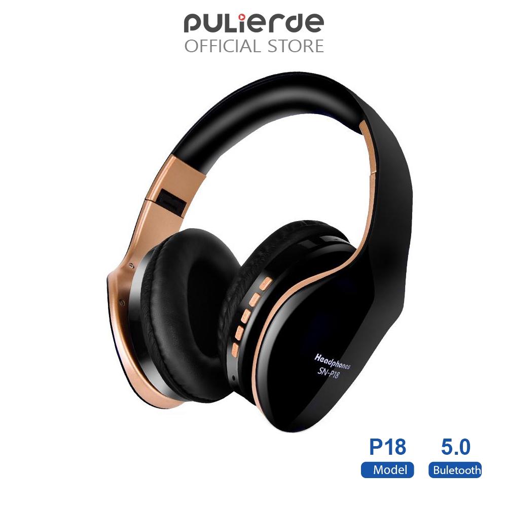 Tai Nghe Không Dây Pulierde P18 Bluetooth 5.0 Chơi Game/Nghe Nhạc Âm Thanh Nổi Hỗ Trợ Thẻ TF Kèm Micro Có Thể Gập Lại
