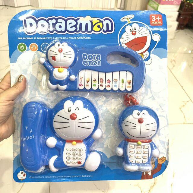 Bộ đồ chơi 2 điện thoại 1 đàn piano Doremon cho bé