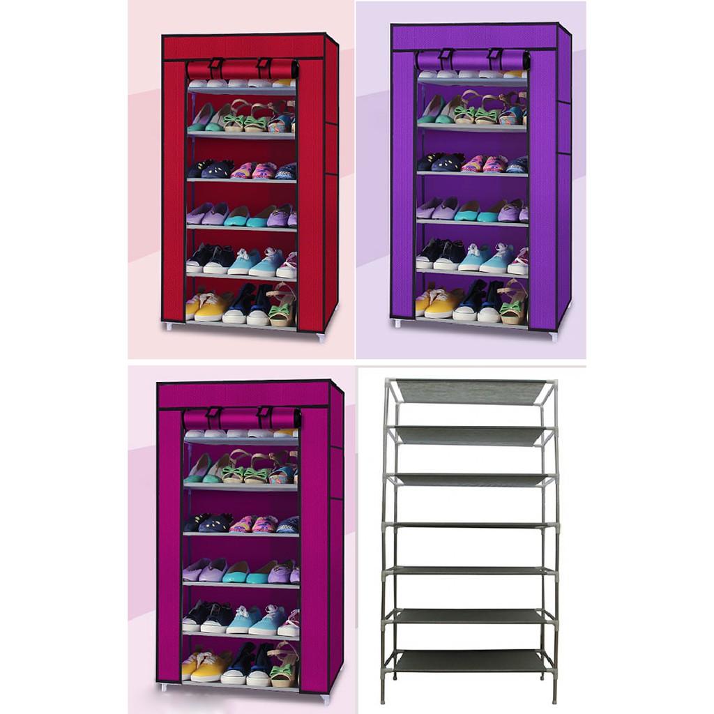 Tủ Giày 6 Tầng Trơn (Xanh, tím , hồng, đỏ đô)