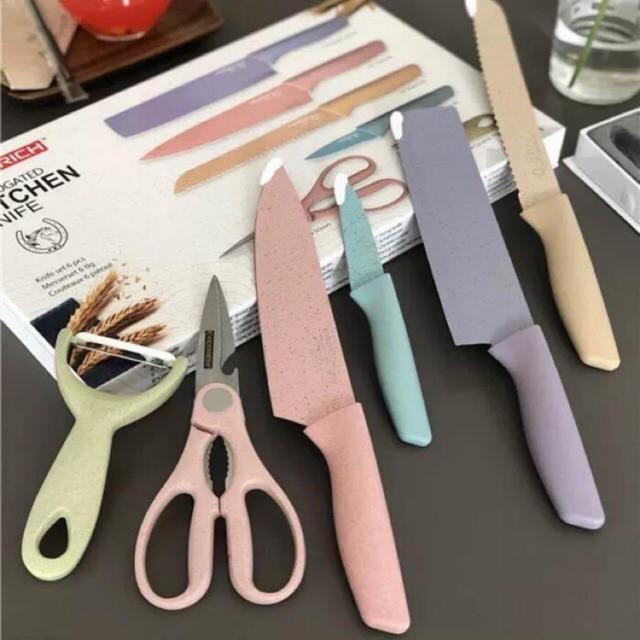 Bộ dao làm bếp nhiều màu lúa mạch 6 món