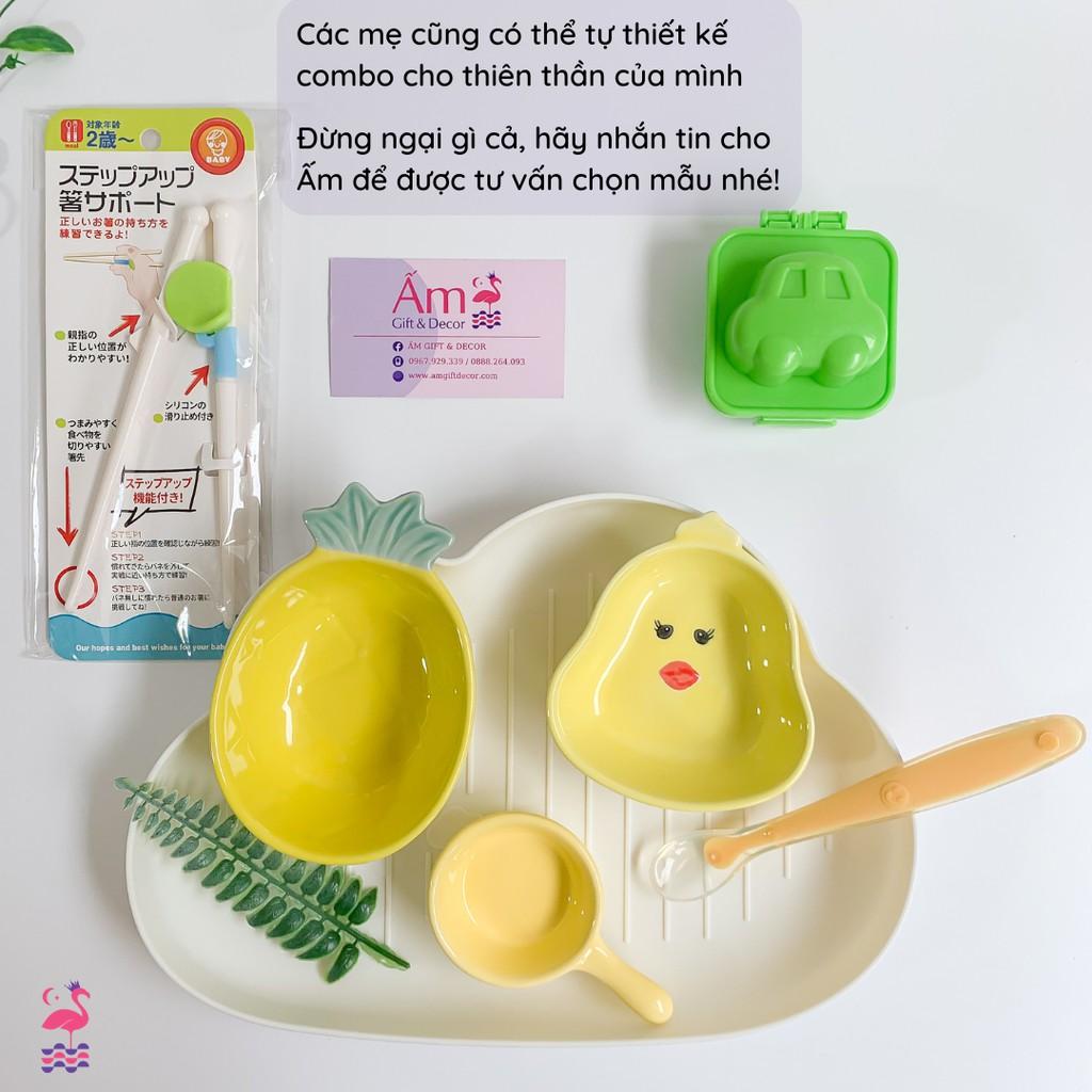 Bộ Bát Ăn Dặm Cho Bé - Bộ Dụng Cụ Ăn Dặm Kiểu Nhật - Đồ Dùng BLW Baby Led  Weaning Cho Bé giá cạnh tranh