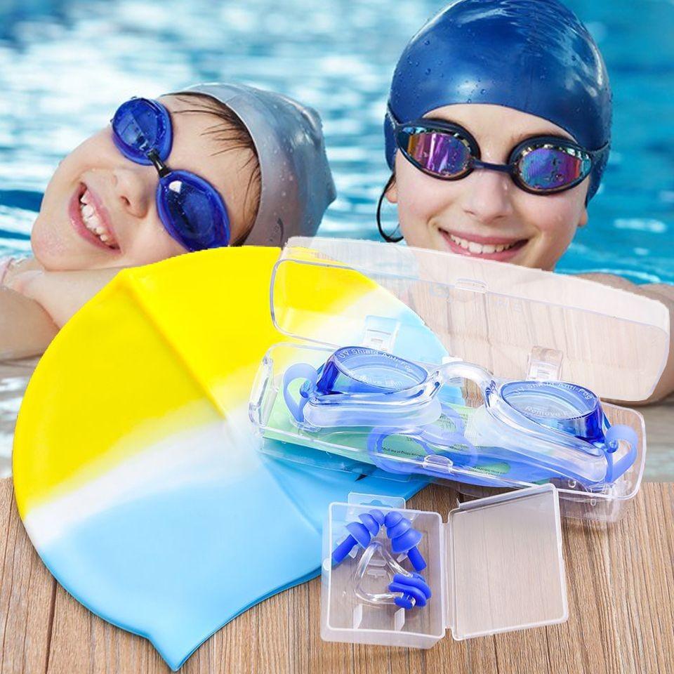 Kính bơi UV kèm Mũ bơi và 2 nút bịt tai