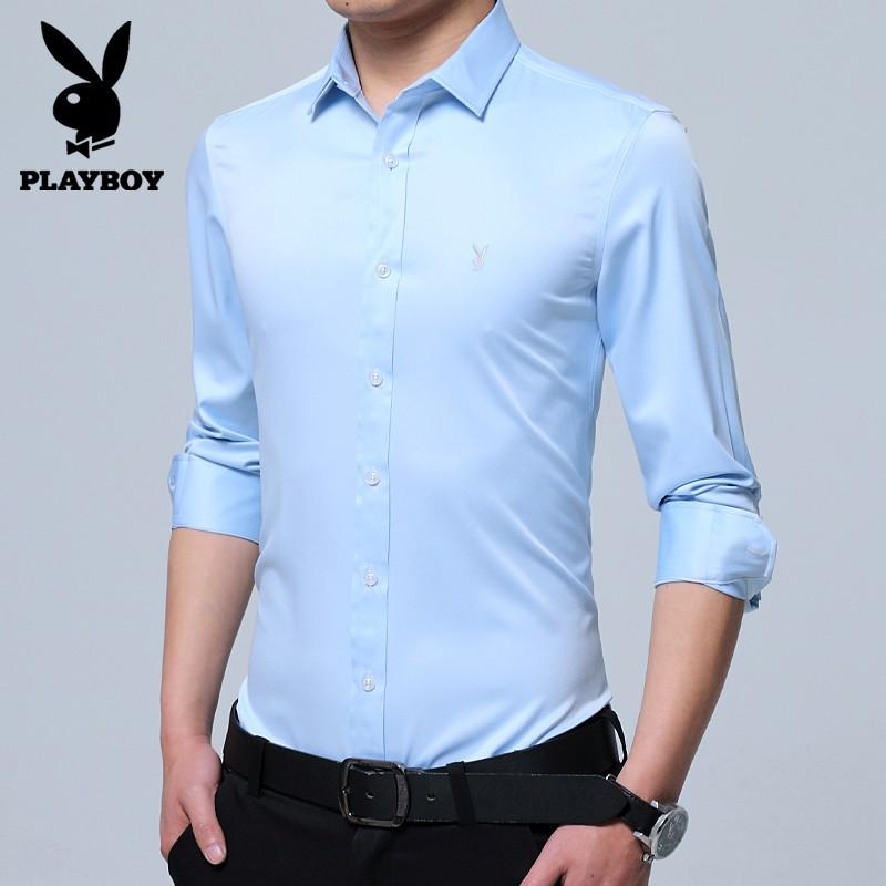 playboyเพลย์บอย 2019 ฤดูใบไม้ร่วงธุรกิจเสื้อเชิ้ตแขนยาวชายเวอร์ชั่นเกาหลีของแนวโน้มของเสื้อเชิ้ตสีขาวบางเฉียบ