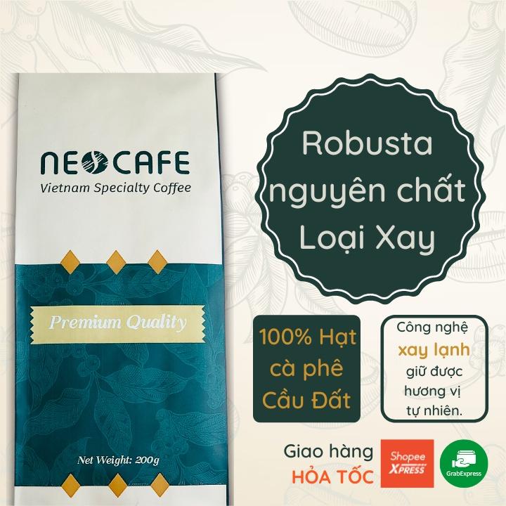Cà phê Robusta NEOCAFE cafe rang xay nguyên chất 100% ca phe rang mộc, hạt robusta Cầu Đất dùng để pha phin pha máy ngon
