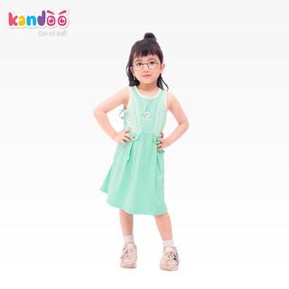 Váy sát nách bé gái KANDOO màu xanh, chất liệu cotton cao cấp mềm mịn, thoáng mát. an toàn cho bé - DG16DR03