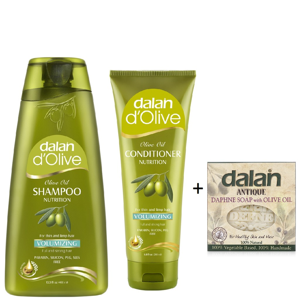 Bộ dầu gội, dầu xả Oliu cho tóc mỏng yếu Dalan Nutrition Volumizing tặng xà phòng hoa Thụy Hương & d