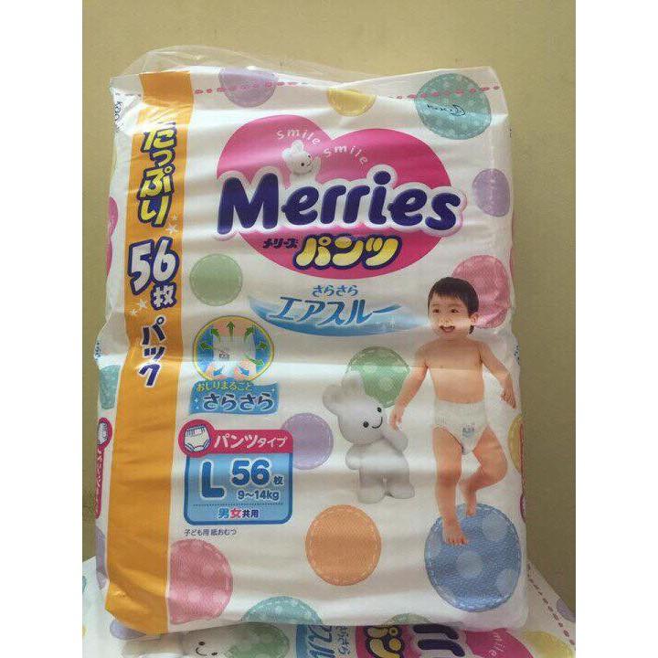 Bỉm Merries- L56 quần super nhiều miếng