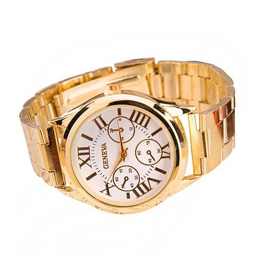 Đồng hồ Geneva số La Mã bằng hợp kim mạ vàng cho nữ