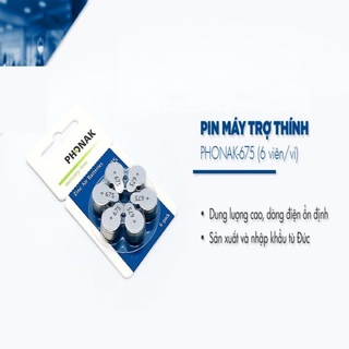 Pin Phonak 675( Pin chính hãng Phonak ) - Pin máy trợ thính 6 viên 1 vỉ thumbnail