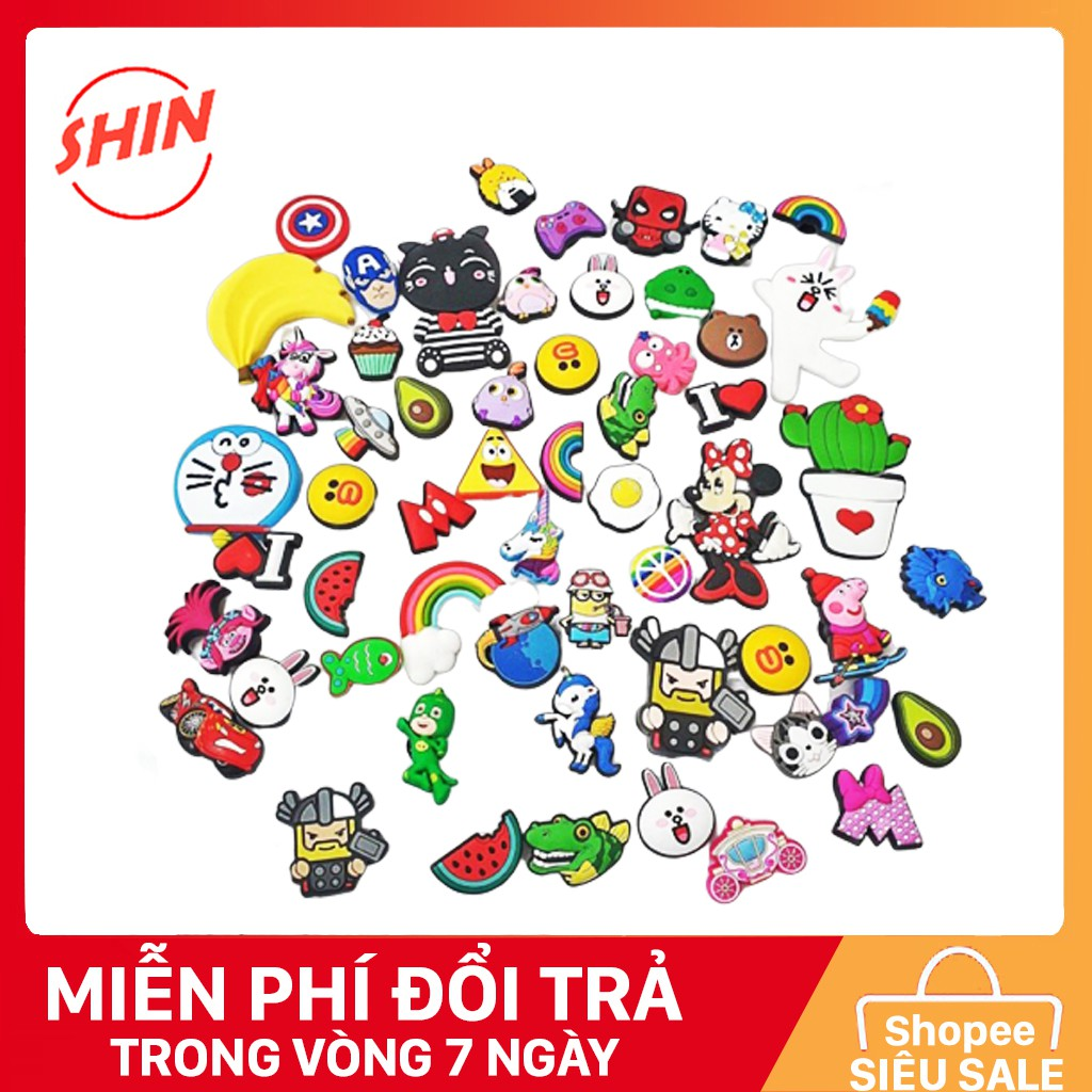 Combo 10 Jibbitz , Sticker mẫu đa dạng cho dép cho nam và nữ
