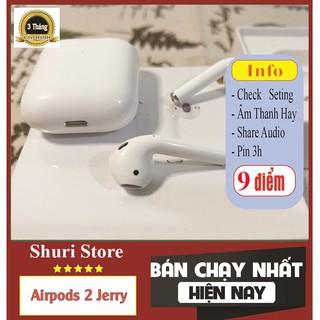 Tai Nghe Airpods 2 Check Setting Cao Cấp Tai Nghe Bluetooth Không Dây Airpod 2 Jerry - Đổi Tên - Định Vị - Sạc Không Dâ