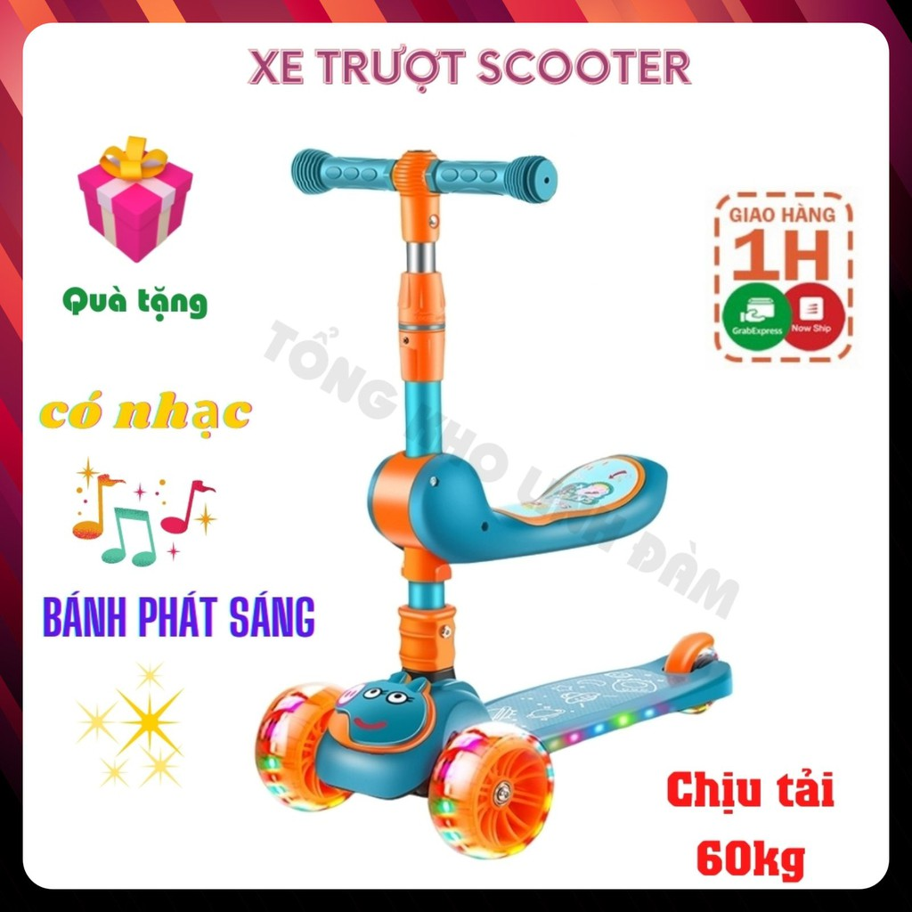 Xe trượt scooter 💥FREESHIP💥 đa năng phát sáng cho bé từ 2 đến 8 tuổi - Xe thăng bằng có nhạc, ghế nhún cho trẻ DC009