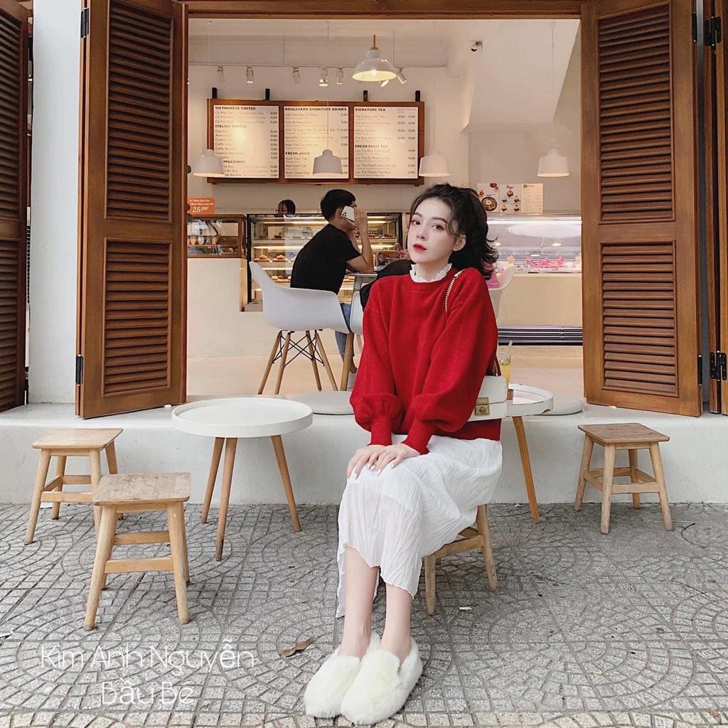 [HÀNG THIẾT KẾ] Áo Phông Đỏ Cổ Bèo Phối Chân Váy Trắng