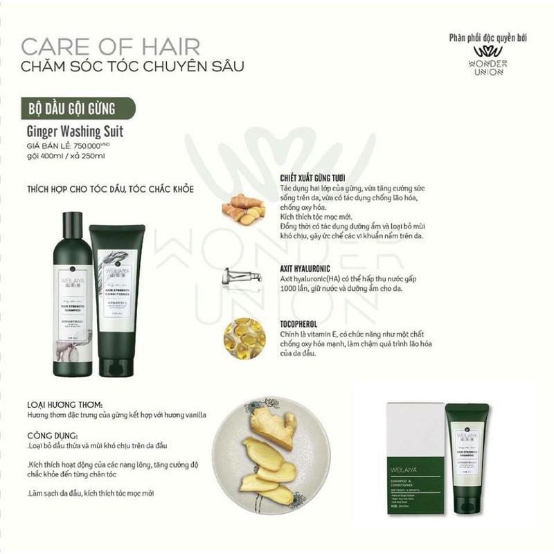Bộ dầu gội đầu xả Weilaiya tinh chất gừng hỗ trợ móc tóc và trị rụng tóc-400ml[Drop4]