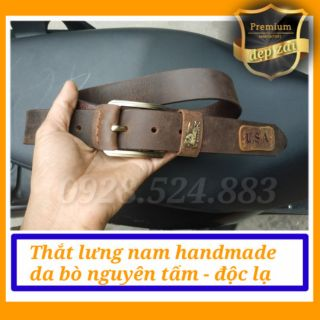 Thắt lưng nam dây da bò thời trang handmade.