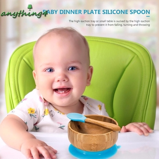 any♚Baby Training Bowl Spoon Tableware Set Dinner Bowl Learning Dish with Base