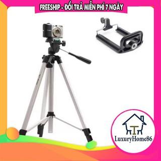 Gậy chụp ảnh Tripod 3110 thiết kế 3 chân đứng, điều chỉnh được độ cao, kẹp điện thoại, máy ảnh, kéo cao tối đa 1022mm