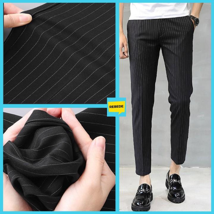 Quần âu nam kẻ sọc đen KOREA, (Mã: QAKS) quần âu phong cách Hàn Quốc phù hợp với áo sơ mi áo phông đều được
