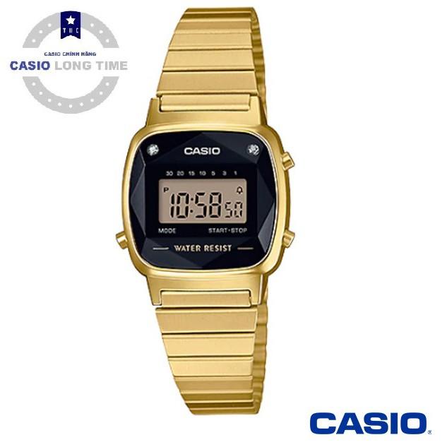 Đồng Hồ Nữ Casio LA670WGAD-1DF Dây Mạ Vàng - Mặt Vuông Đính Kim Cương Tự Nhiên - Bảo