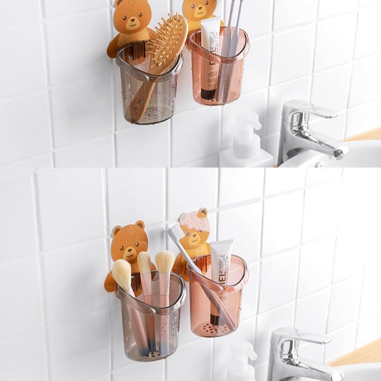 Cốc gấu đựng bàn chải kem đánh răng Cốc gấu dán tường siêu dính