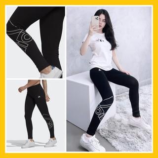 Quần Legging Gym Nữ Đen Cotton Logo Ống Chân – Quần Tập Thể Thao Basic