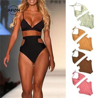AFON Women Halter High Waist Swimsuit Set