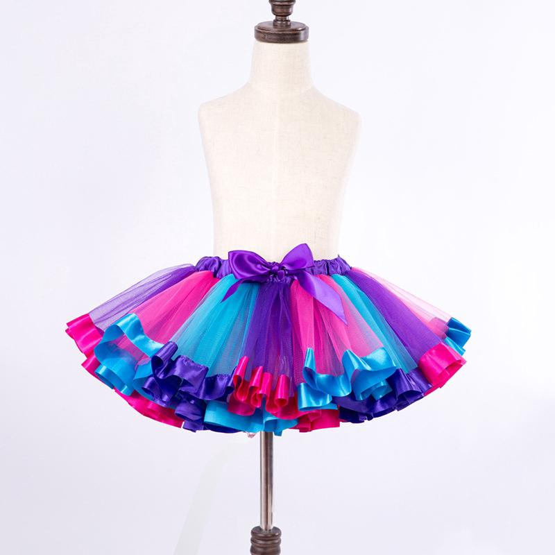 NNJXD Chân váy xòe màu sắc sinh động xinh xắn cho bé gái