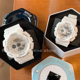 Đồng hồ nam, nữ HSET unisex dây nhựa trắng kiểu dáng năng động cho tuổi teen