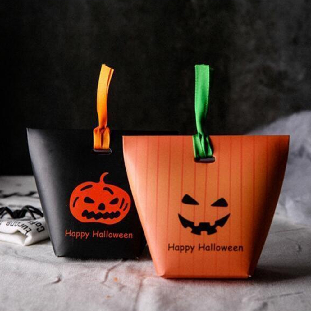 Handle Party Decor Pumpkin Gifts With Ribbon Festival Halloween Candy Bag