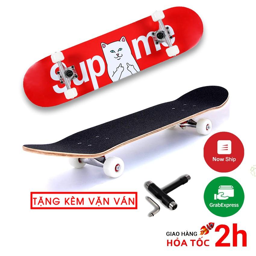 Ván trượt skateboard thể thao chất liệu gỗ phong ép cao cấp 7 lớp mặt nhám trẻ em và người lớn - tặng vặn ván