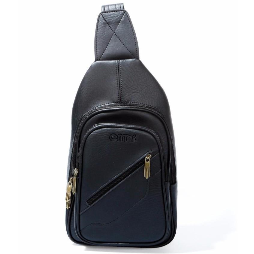 Túi da đeo chéo CNT unisex MQ05 đen phong cách hàn quốc