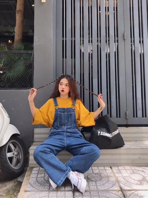 Quần yếm jeans Minion Clothing, dáng Unisex, phong cách Ulzzang Streetwear QY3259