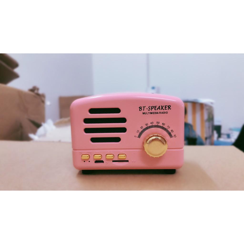 Loa bluetooth mini BT01 vân gỗ cổ điển retro dễ thương, decor phòng , Loa  mini BT Speaker âm thanh Chill , Trầm - Loa Bluetooth