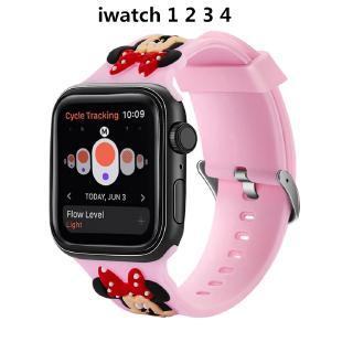 Dây đeo Apple Watch series 1 2 3 4 cỡ 38-40mm bằng silicone họa tiết chuột Minnie đáng yêu