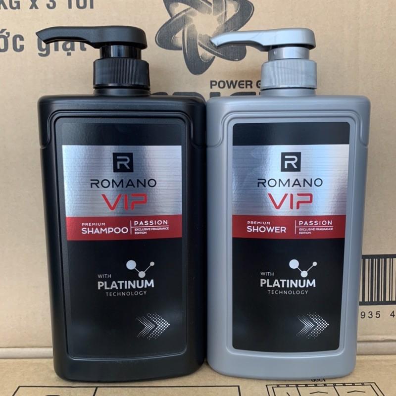 Combo Dầu gội và Sữa tắm cao cấp Romano Vip Vision sang trọng cuốn hút 650g/chai