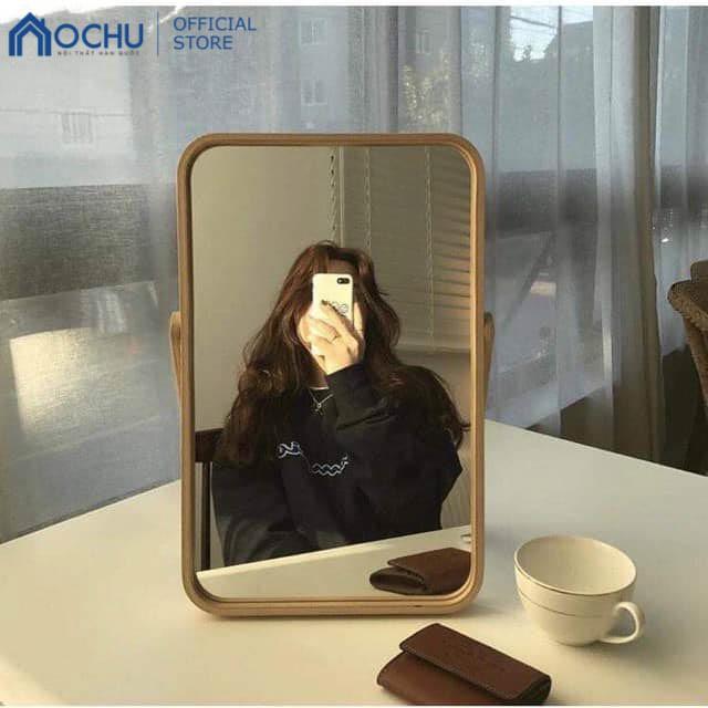 Gương Trang Điểm Để Bàn OCHU Khung Gỗ Nội Thất Hàn Quốc - Mini Mirror - Natural
