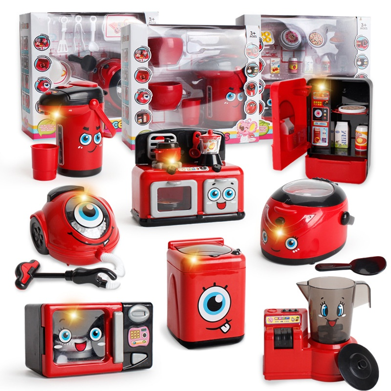 Small Household Appliances Kitchen Toys Children's Play House Electric Simulation Refrigerator Microwave Pot