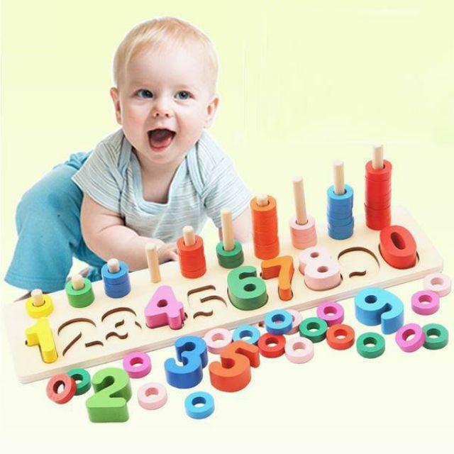 [khomuare] Bộ đồ chơi học đếm số bằng gỗ