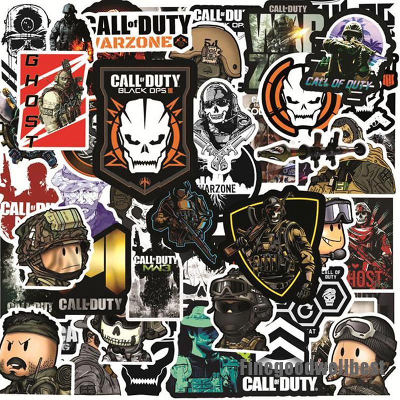 FBVN 50Pcs Call of Duty Game Stickers Laptop Phone Skateboard Suitcase Sticker