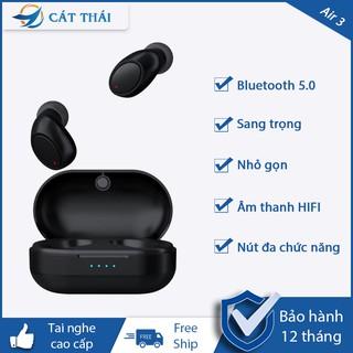 Tai nghe Bluetooth Air 3 Cát Thái nhỏ gọn sang trọng có nút thao tác âm thanh surround gọi thoại rõ ràng