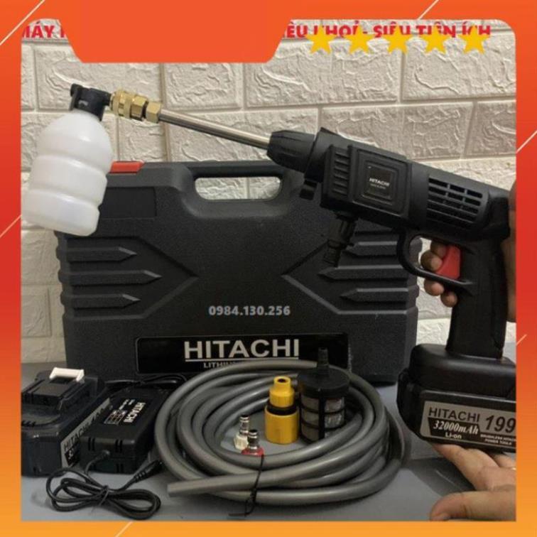 Máy rửa xe dùng pin mini, Máy xịt rửa tăng áp Hitachi 199V áp lực cao 1400W [Tặng 2 pin+ bình tạo bọt]