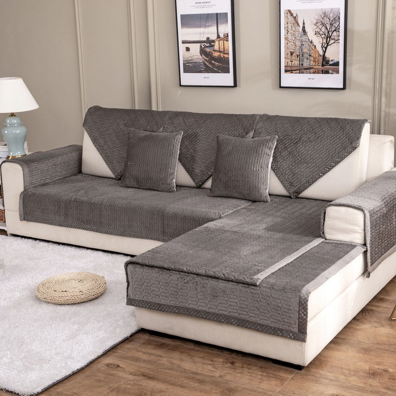 Winter super soft plush plain quilted sofa cushion modern minimalist living room combination sofa non-slip cushion towel wholesale