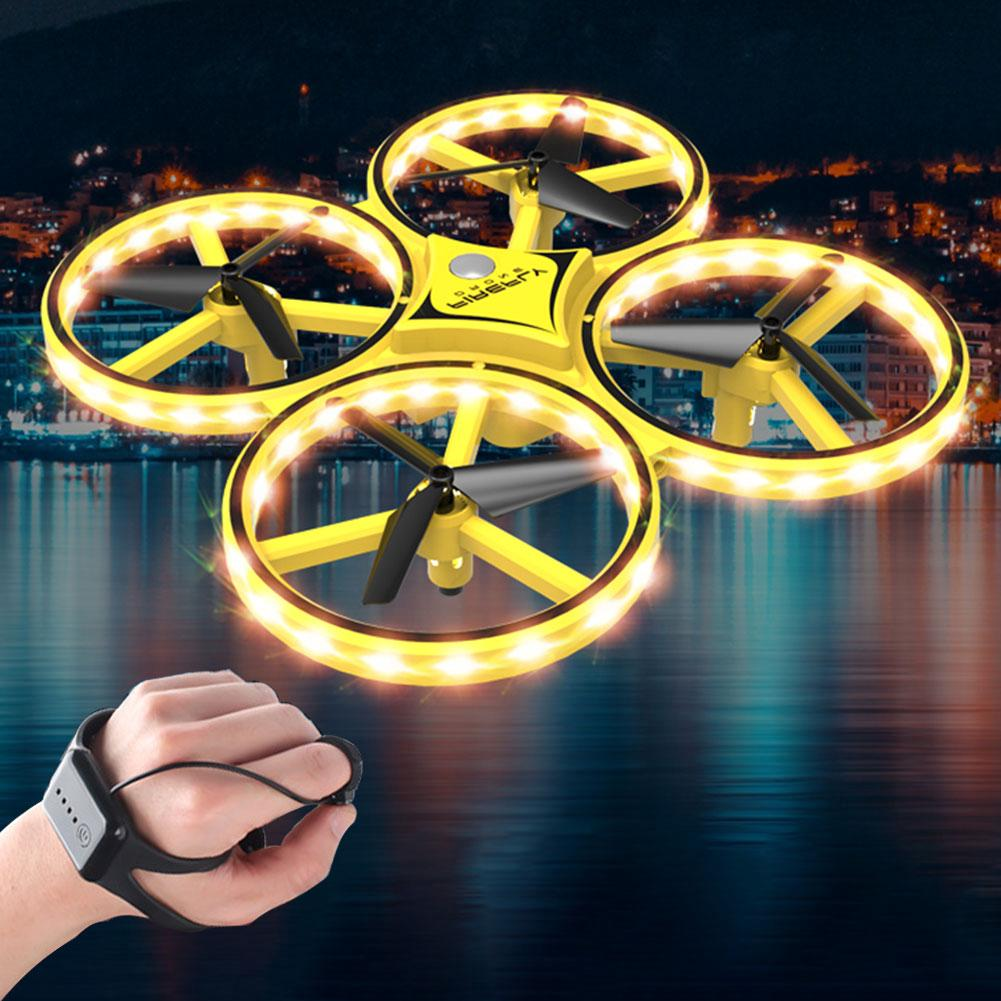 Gravity Sense LED Lighting Toy Drone Four-Axis Remote Control Quadcopter Gift Gesture Interact Aircraft Smart Watch