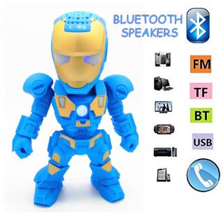 Bluetooth Speaker Iron Man with LED Flash Light Deformed Arm Figure Robot Portable Mini Wireless Subwoofers For TF FM