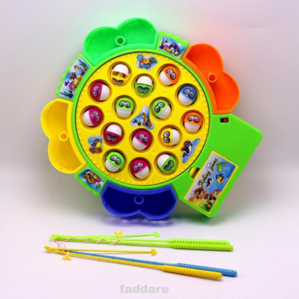 Gift Useful ABS Classic Children Educational Rotation Electric Music Fishing Toy